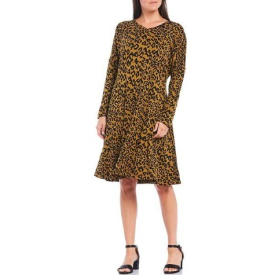 マサイ レディース ワンピース トップス Noa V-Neck Long Sleeve Leopard Print Jersey Dress Tapenade