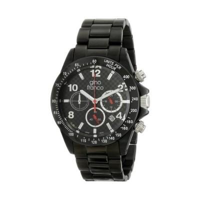 Gino Franco Men 's 9688bk Rogue Roundクロノグラフブラックイオンプレーティングブレスレット腕時計並行輸入品