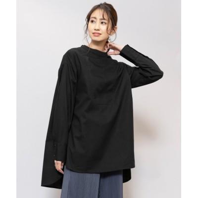 【ミリアンデニ】 2way シャツ レディース トップス オーバーサイズ ブラウス 白シャツ 黒シャツ レディース ブラック M mili an deni