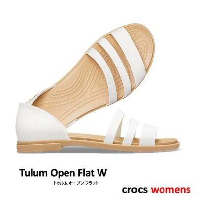 ・クロックス《レディース》/ CROCS/W Tulum Open Flat/トゥルム オープン フラット/オイスター×タン 206109