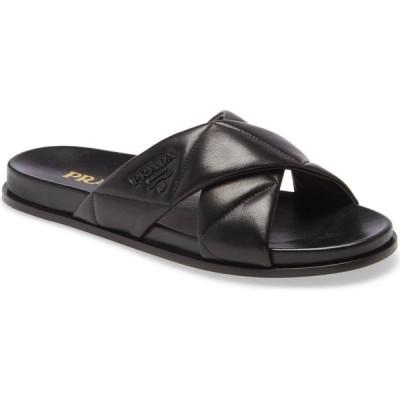 プラダ PRADA レディース サンダル・ミュール シャワーサンダル シューズ・靴 Logo Cross Strap Slide Sandal Black
