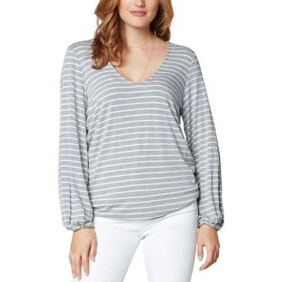 リバプール Liverpool レディース 長袖Tシャツ トップス Twist Back Long Sleeve Knit Top Light Heather Grey/White Stripe