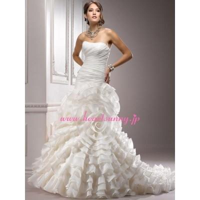 ウェディングドレス ビスチェ 花形フリル 編み上げ ロングトレーン A046