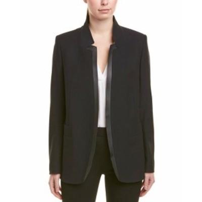 Blazer ブレザー ファッション 衣類 Escada Leather-Trim Wool-Blend Blazer 42 Black