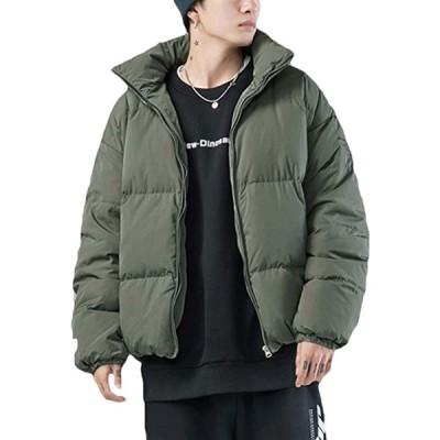 中綿ジャケット メンズ 中綿コート 大きめ シンプル 防寒着 アウター(カーキ, XL)