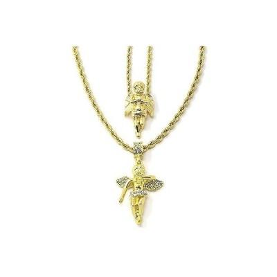 """ネックレス アメリカン ジュエリー ヒップホップ Men 14k Gold Plated High Fashion Angel Prayer & Cz 2pcs Bundle 30""""24"""" Rope chain"""
