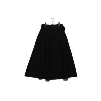 ミラオーウェン Mila Owen ベルト付リップル編構築ニットスカート (ブラック)