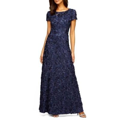 アレックスイブニングス レディース ワンピース トップス Embellished Lace Gown NAVY