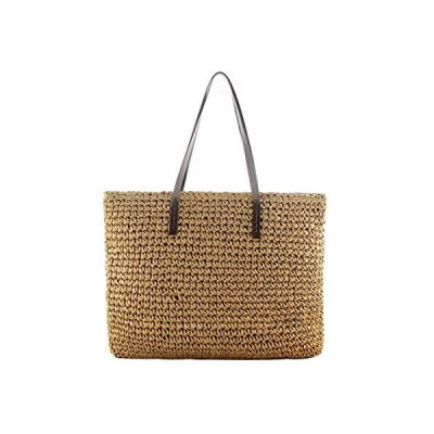Women Summer Beach Weaving Shoulder Bag Straw Woven Large Tote for Leisure