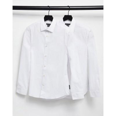 フレンチコネクション メンズ シャツ トップス French Connection 2 pack slim fit formal shirt White