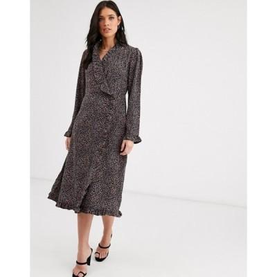 ワイエーエス レディース ワンピース トップス Y.A.S ruffle detail long sleeve wrap dress