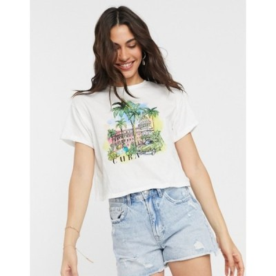 ベルシュカ レディース シャツ トップス Bershka Cuba t-shirt in white