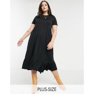 ユアーズ レディース ワンピース トップス Yours loose-cut smock dress in black