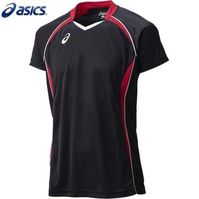 asics/アシックス XW1316 バレーボールウェア メンズ・ユニセックス ゲームシャツHS ブラック×Vレッド