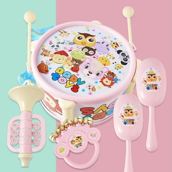 兒童玩具拍拍鼓樂器7件敲鼓組合音樂敲打樂器【英賽德3C數碼館】