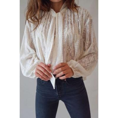 アーバンアウトフィッターズ Urban Outfitters レディース ブラウス・シャツ トップス uo pretty poetic embroidered blouse Ivory
