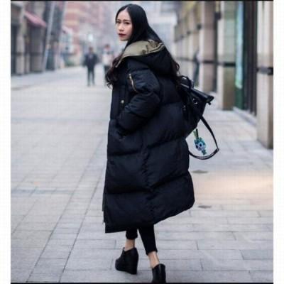 ダウンジャケット 中綿ダウンコート 冬アウター ロング丈 レディース ファション 暖かい 帽子付き 着痩せ