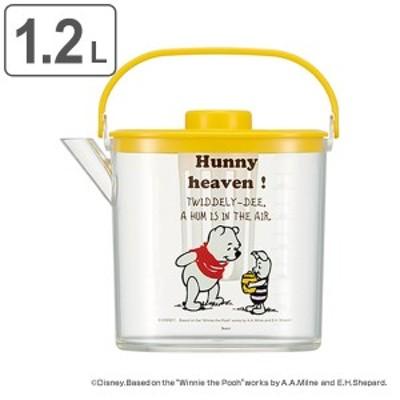 冷水筒 1.2L POOH コミック くまのプーさん 冷茶ポット ピッチャー 茶こし付き プラスチック製 耐熱 キャラクター ( 麦茶ポット 熱湯 茶