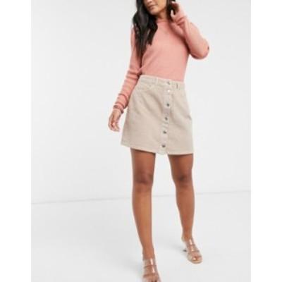 エイソス レディース スカート ボトムス ASOS DESIGN cord button through mini skirt in barley Barley