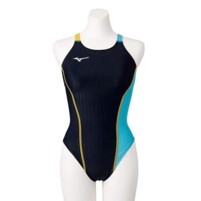 ミズノ 競泳練習用エクサースーツUP ミディアムカット[レディース] 92ブラック×ブルーアトール XS スイム 競泳水着 エクサースーツ(練習用水着) N2MA0760