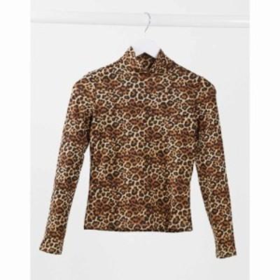 モンキ Monki レディース トップス Vanja organic cotton leopard print top in brown レオパード
