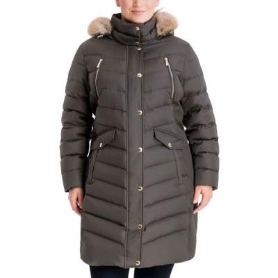 マイケル コース Michael Kors レディース ダウン・中綿ジャケット 大きいサイズ フード アウター Plus Size Faux-Fur-Trim Hooded Puffer Coat Dark Moss