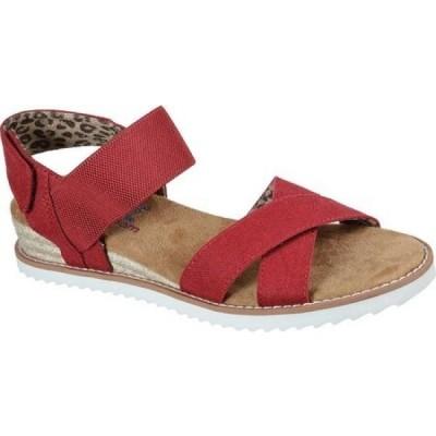 スケッチャーズ Skechers レディース サンダル・ミュール ウェッジソール シューズ・靴 BOBS Desert Kiss Secret Picnic Wedge Sandal Red