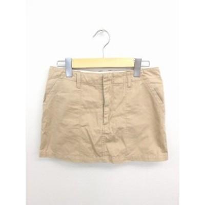 【中古】アーバンリサーチ URBAN RESEARCH スカート 台形 ミニ 無地 シンプル 綿 コットン 36 茶 ベージュ /TT33 レディース