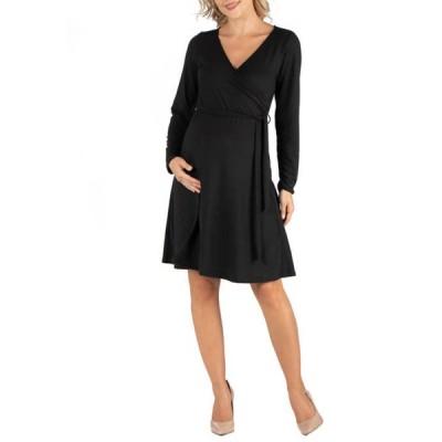 24セブンコンフォート レディース ワンピース トップス Maternity Knee Length Long Sleeve Wrap Dress