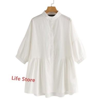 シャツ トップス 長袖シャツ シャツブラウス ブラウス レディース プルオーバー 長袖 無地 シンプル 綿 コットン 体型カバー ゆったり