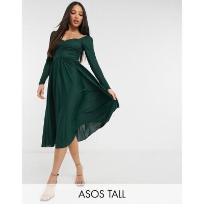 エイソス ASOS Tall レディース ワンピース ミドル丈 ワンピース・ドレス Tall Long Sleeve Ruched Bust Midi Dress In Forest Green フォレストグリーン