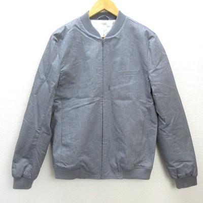k■トップマン/TOPMAN リブ付き ジップアップジャケット/ブルゾン【40】灰色グレーMENS/98【中古】