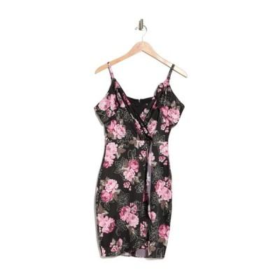 ゲス レディース ワンピース トップス Floral Faux Wrap Dress BLK MULTI