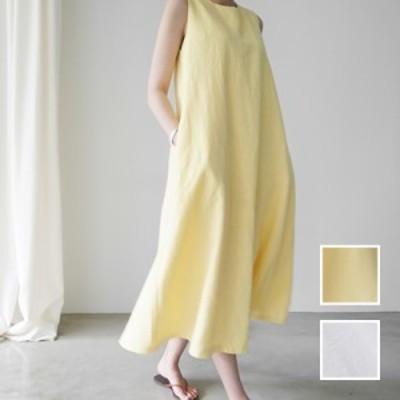 韓国 ファッション レディース ワンピース 夏 春 カジュアル naloI616  リネン風 ナチュラルテイスト ゆったり Aライン シンプル コーデ