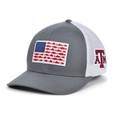 コロンビア メンズ 帽子 アクセサリー Texas A&M Aggies PFG Fish Flag Stretch-fitted Cap Charcoal/White