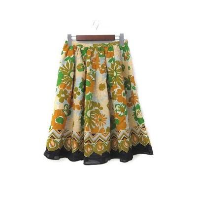 【中古】イエナ IENA スカート 38 M オレンジ ベージュ 花柄 フレア ミニ 美品 レディース 【ベクトル 古着】