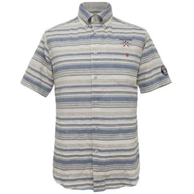 40%OFF 2019春夏 シナコバ 綿×麻ボーダー半袖ボタンダウンシャツ《ブルー系》(M、L、LL)SH*0119124580920
