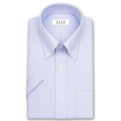ワイシャツ Yシャツ メンズ 半袖  ELLE HOMME    形態安定加工 ブルースモールチェック ボタンダウンシャツ おしゃれ(sa1)