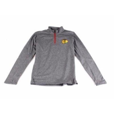 NHL  ファッション トップス NHL Gray Boys Size Large L 1/4 Zip Stretch Chicago Blackhawks Sweater