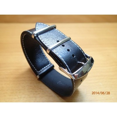 16mm 18mm 20mm 22mm 24mm NATO タイプ 引き通し 時計バンド 腕時計用 時計ベルト 時計用バンド 牛革 レザー ブラック 黒色 (白ステッチ)