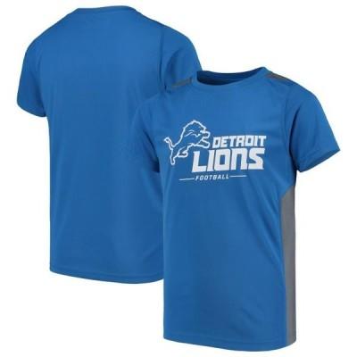キッズ スポーツリーグ フットボール Detroit Lions NFL Pro Line by Fanatics Branded Youth Team Lockup Colorblock T-Shirt - Blue/Heather