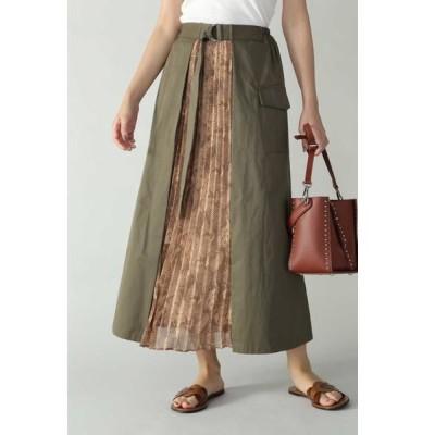 ROSE BUD/ローズ バッド パイソン柄切り替えプリーツスカート カーキ -