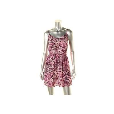 アクア ドレス ワンピース アクア 9716 レディース パープル アジャスタブル ストラップs ミニ アニマル プリント カジュアル ドレス L BHFO