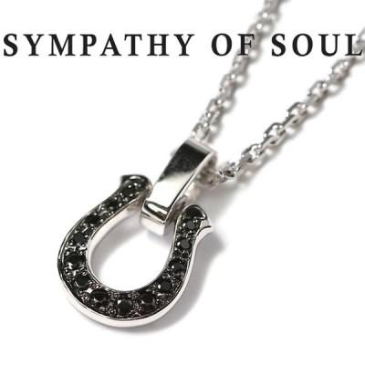 シンパシーオブソウル ネックレス SYMPATHY OF SOUL ホースシューアミュレット ブラック ジルコニア セット Horseshoe Amulet Black CZ Square Chain 1.6mm