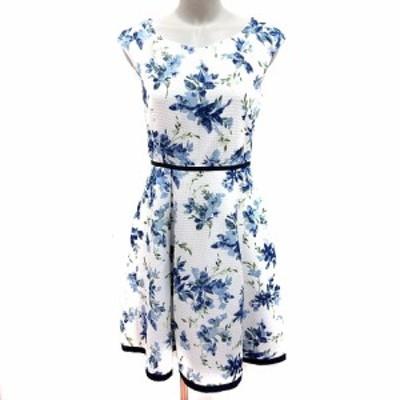 【中古】ジャスグリッティー JUSGLITTY ワンピース Aライン ノースリーブ 花柄 2 白 ホワイト 青 レディース
