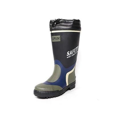 [コーコス信岡] 長靴 レインブーツ ZIPLOA 安全長靴 先芯入り ドライメッシュ裏地 メンズ ブラック 24.5~25.0 cm 3E