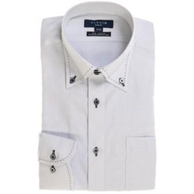 形態安定スリムフィットドゥエボタンダウン長袖ビジネスドレスシャツ