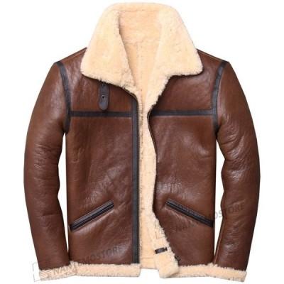 ファーコート メンズ 毛皮コート  ウール ムートンジャケット もこもこ ライダースジャケット メンズ 本革 厚手 暖かい 防寒 秋冬 バイク シングル