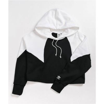 アディダス ADIDAS レディース パーカー トップス large logo black & white crop hoodie Black