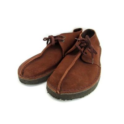 【中古】クラークス clarks ブーツ チャッカ 革靴 スエード レースアップ フラット 8 ブラウン 茶 /MS3 レディース 【ベクトル 古着】